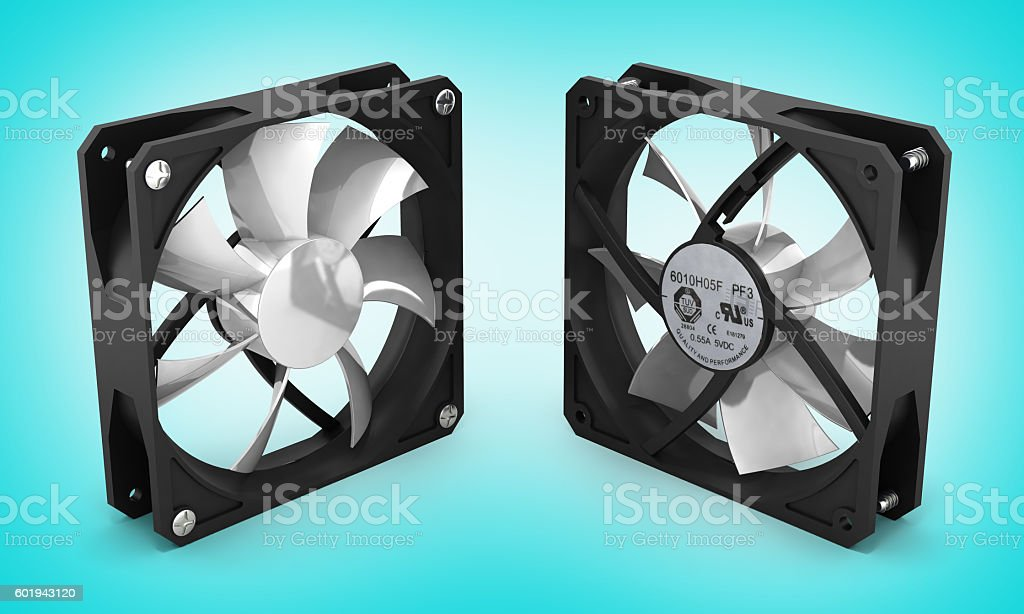 computer cooler on blue gradient background 3d stock photo