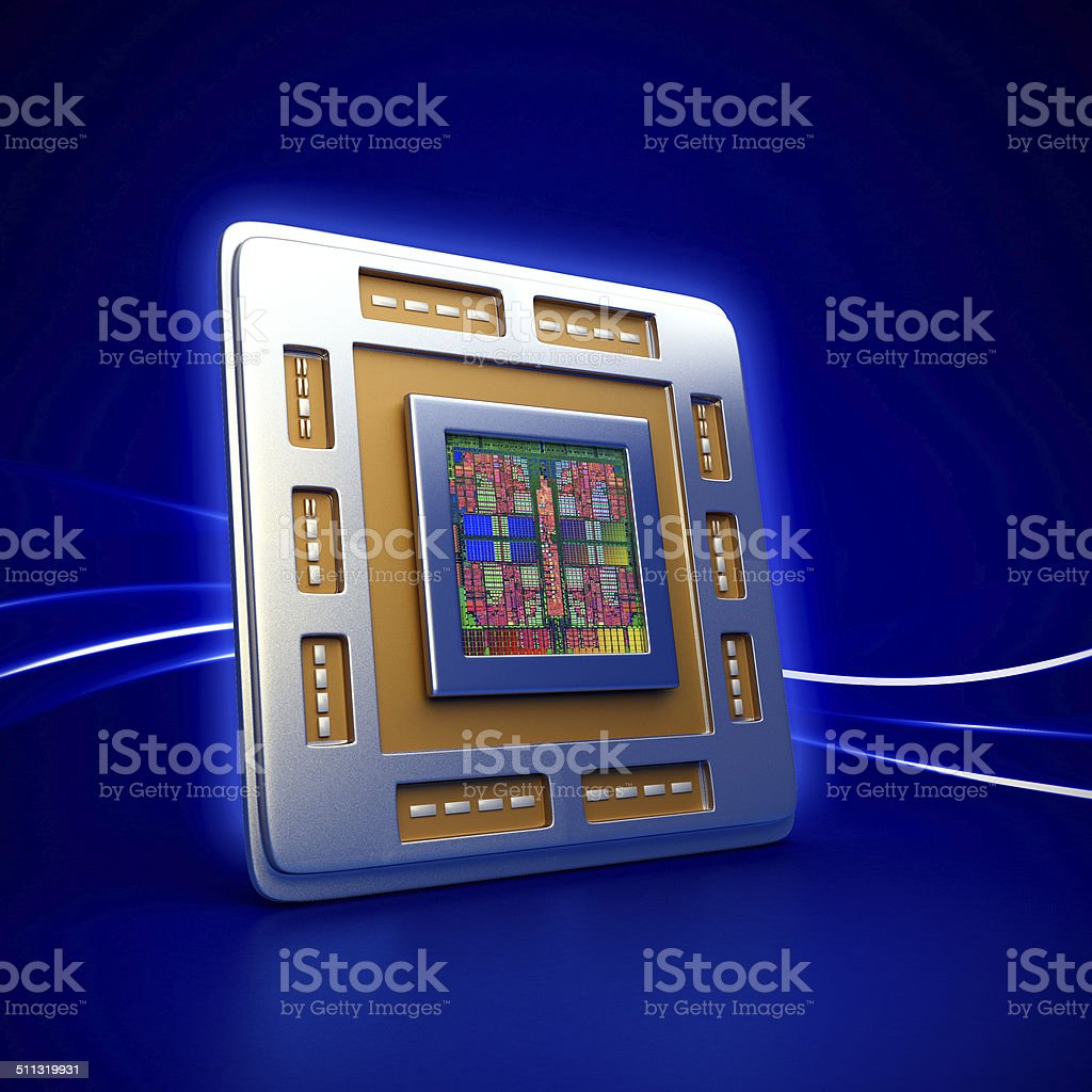 computer cpu (central processor unit) chip stock photo