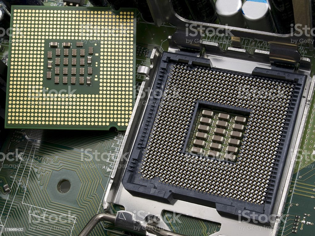 Computer CPU with motherboard royalty-free stock photo