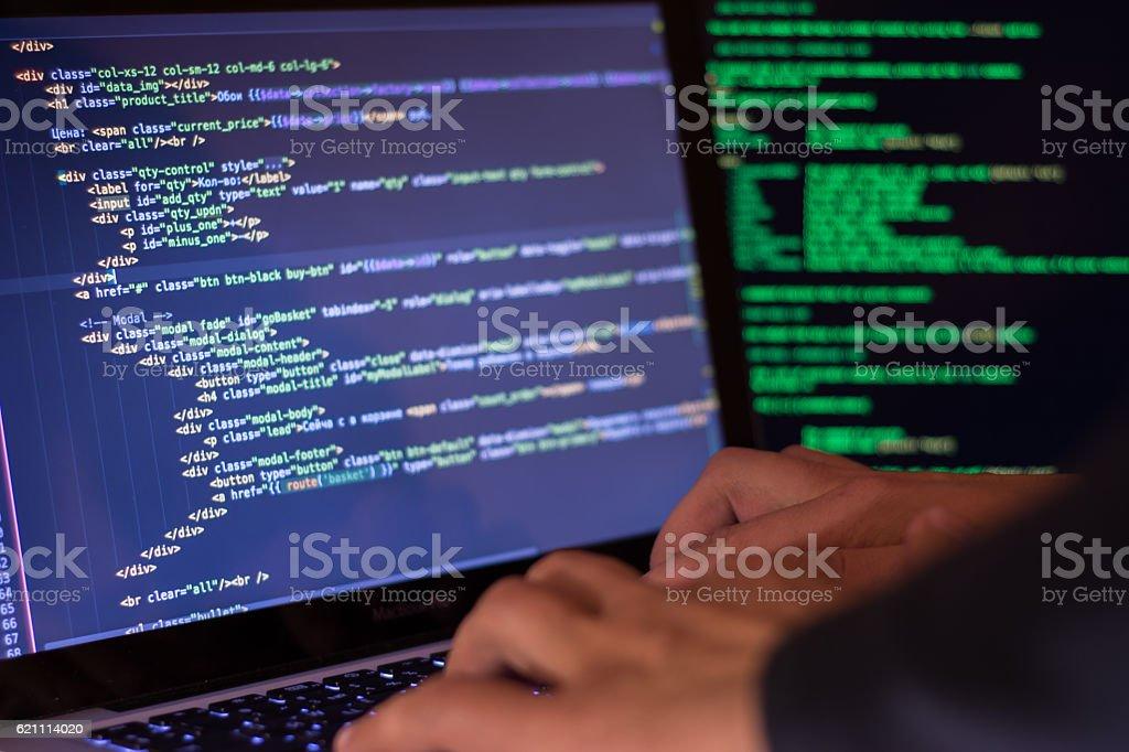 Computer crime concept, hacker breach site Computer crime concept, hacker breach site Coding Stock Photo