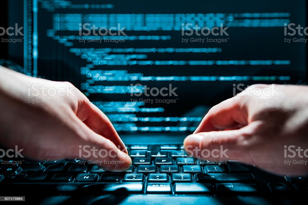 Computerkriminalität Konzept - Lizenzfrei Anonymous - Aktivistengruppe Stock-Foto