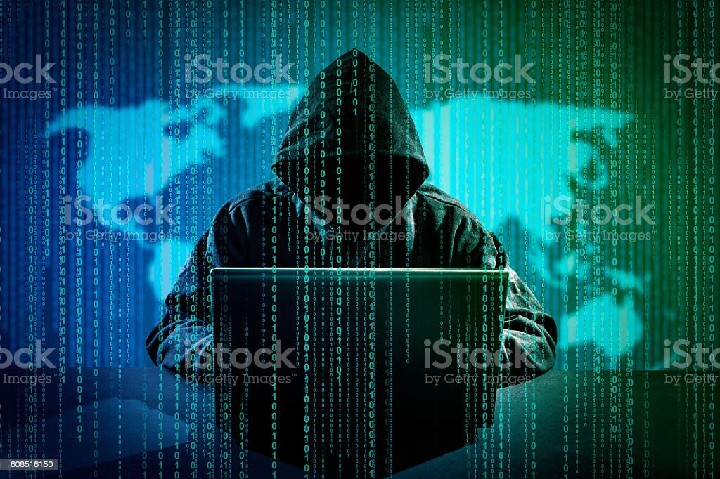 Computer crime concept. stock photo