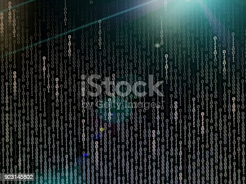 istock Computer data internet connection concepts. binary code numbers background on computer monitor for computer technology concepts. Private cyberspace business environment 923145802