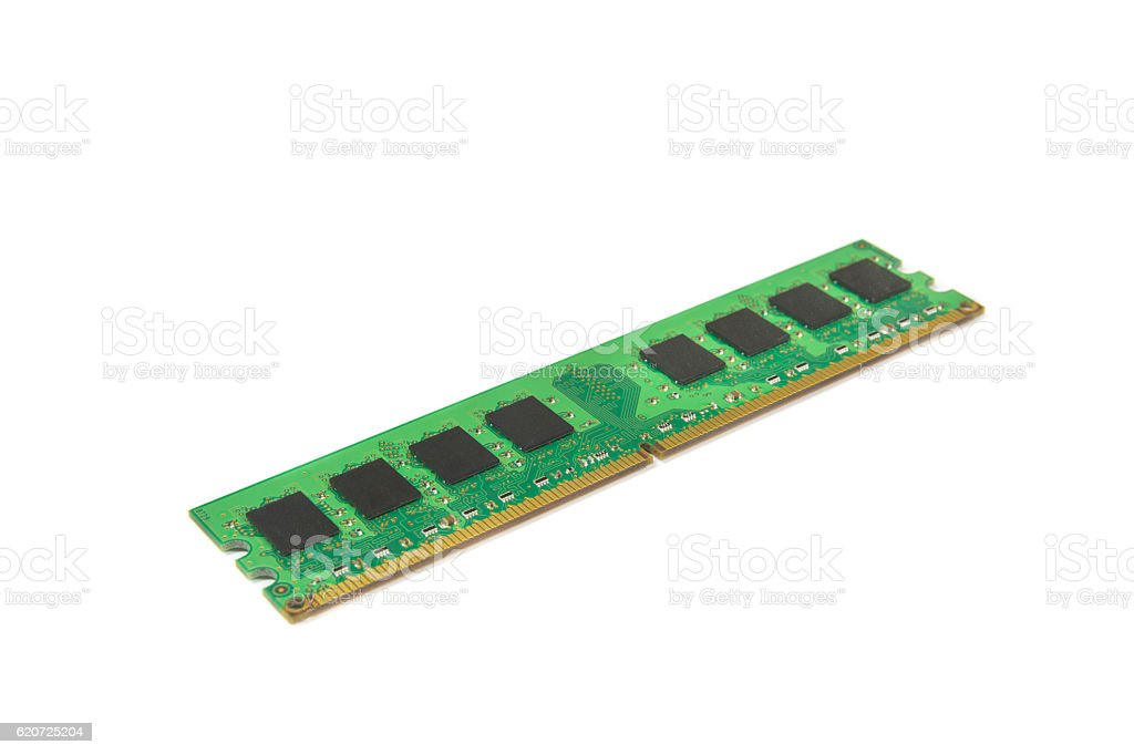 Computer DDR RAM memory module isolated on white background stock photo