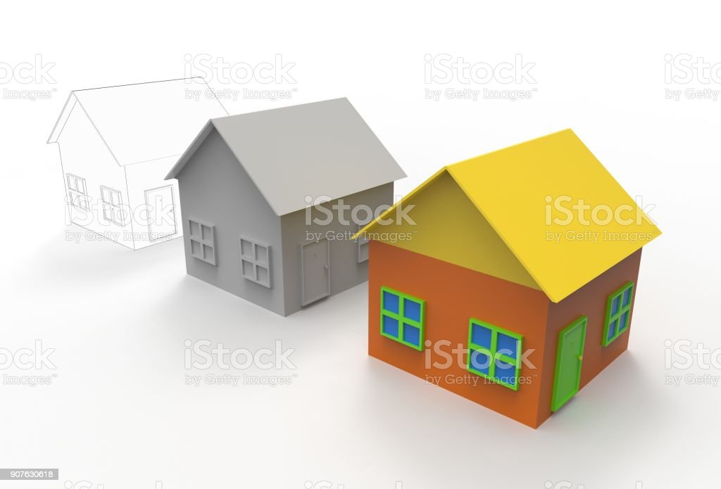 Computer design and printing of buildings in 3D. stock photo