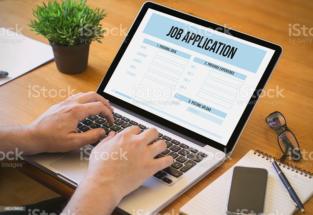 computer desktop job application stock photo