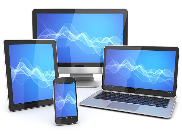 Computer-Geräte mit blue wave Hintergrund – Foto