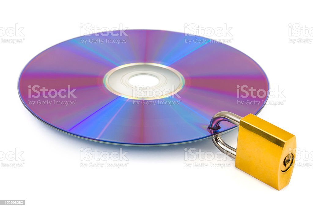 Computer disk and lock royalty-free stock photo
