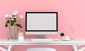 Computer display for mockup in pink room, valentine concept, 3D rendering