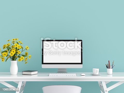 Computer display for mockup on table in light blue room, 3D rendering