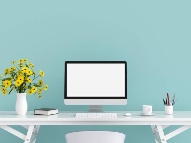 renderização de vídeo do computador para maquete na mesa, 3d - escrivaninha - fotografias e filmes do acervo