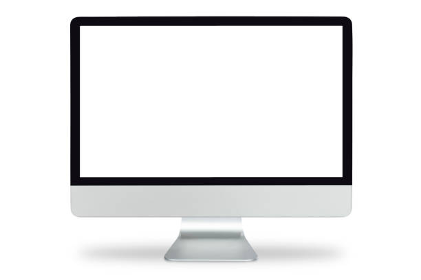 "computer display with blank white screen, ""ncomputer monitor isolated on white background with clipping path. - monitor foto e immagini stock"