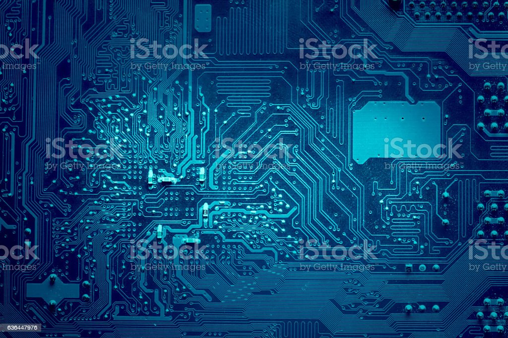 Computer electronic circuit. Blue color, faded at the sides. stock photo