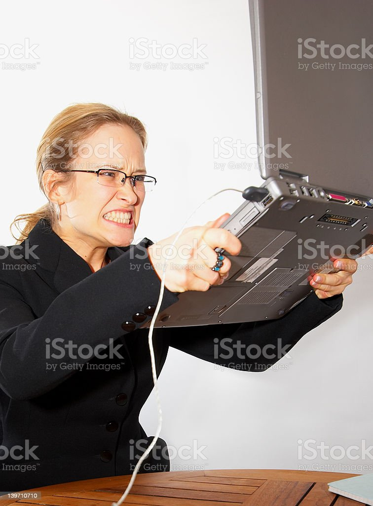 Computer error and a VERY angry women royalty-free stock photo