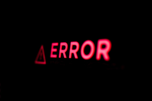 Computer error. Error message on the screen. System warning.