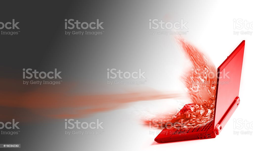Computer exploding with energy. stock photo