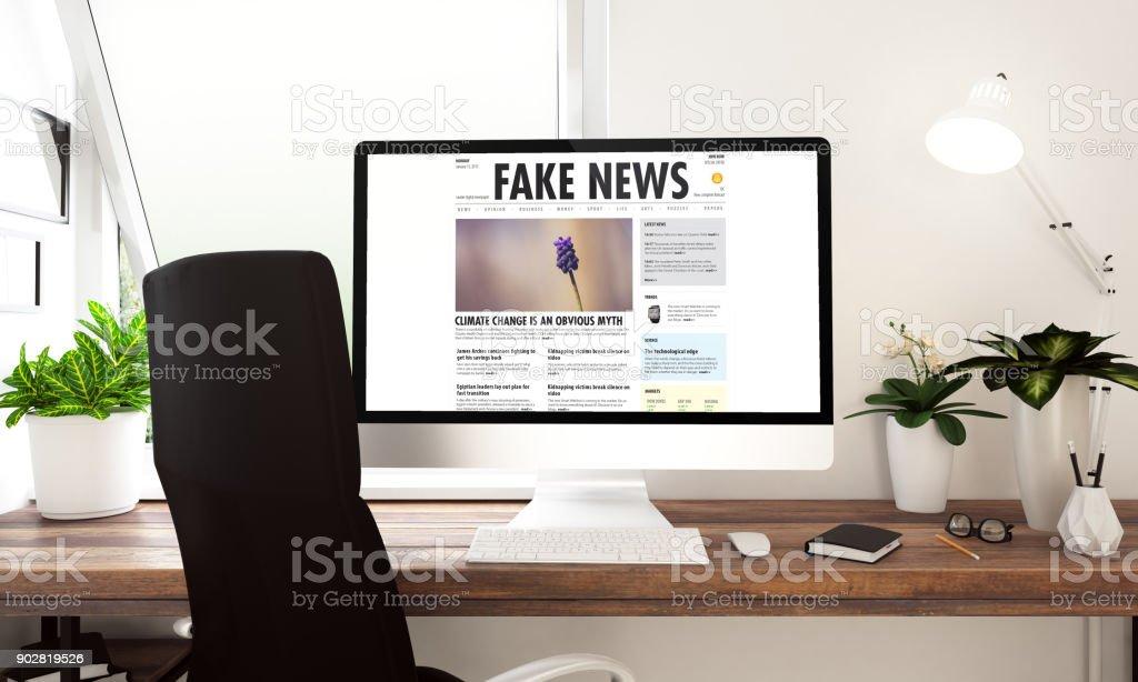 Computer fake news window stock photo