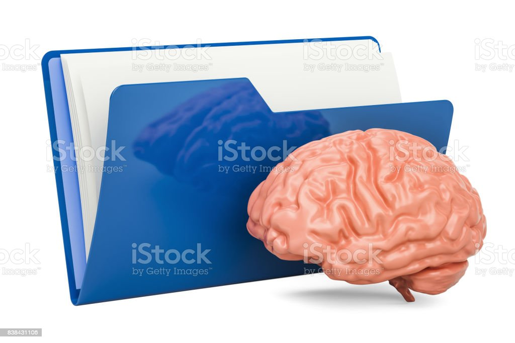 computer folder icon with human brain 3d rendering isolated on whitecomputer folder icon with human brain, 3d rendering isolated on white background stock image