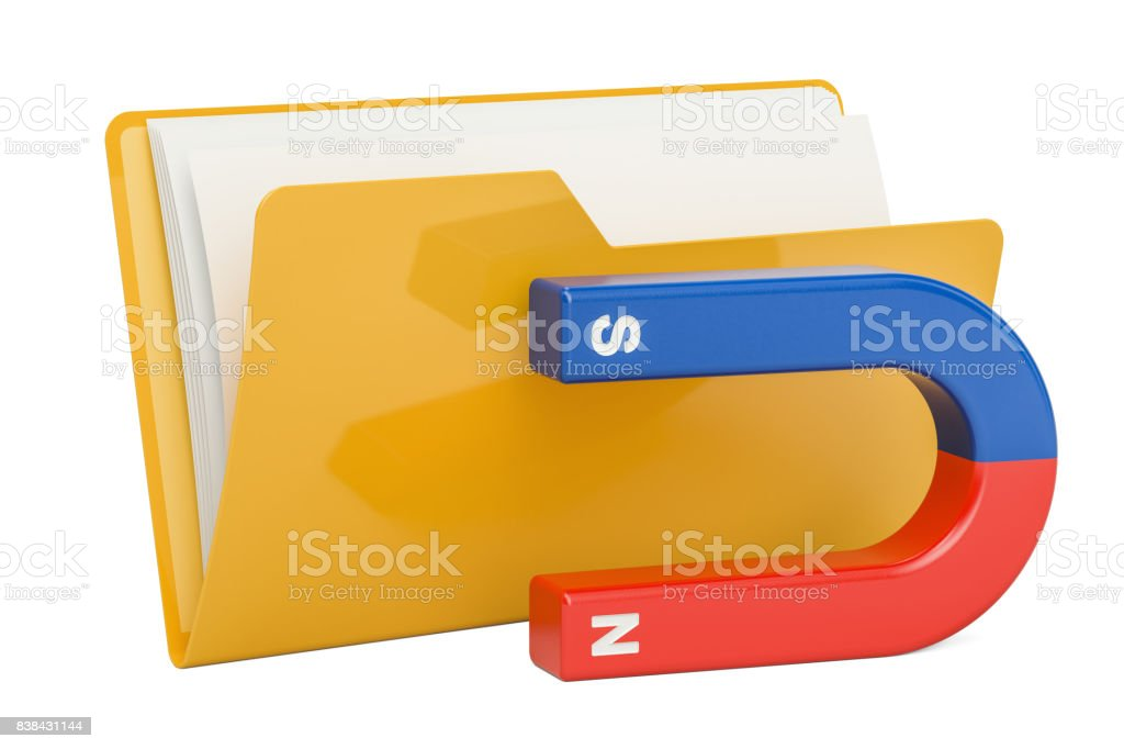 Computer folder icon with magnet, 3D rendering isolated on white background stock photo