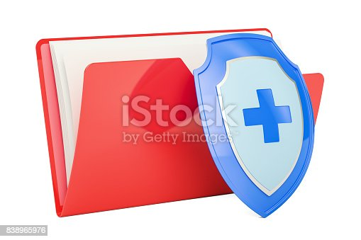 istock Computer folder icon with shield, 3D rendering isolated on white background 838965976