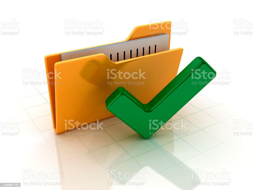 Computer Folder with Check Mark Symbol on White Brackground