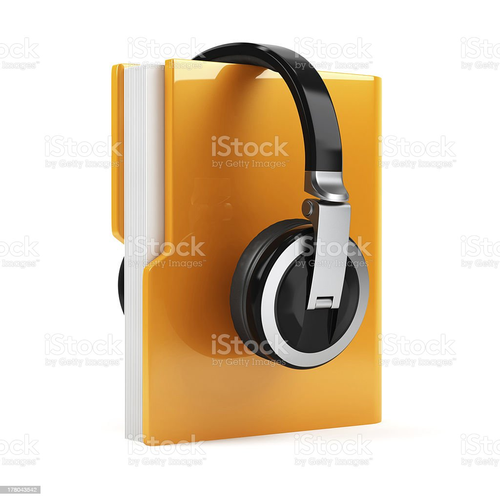 Computer folder with earphones stock photo