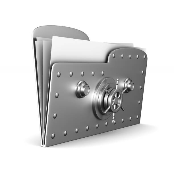computer folder with lock on white background. Isolated 3d image - foto stock