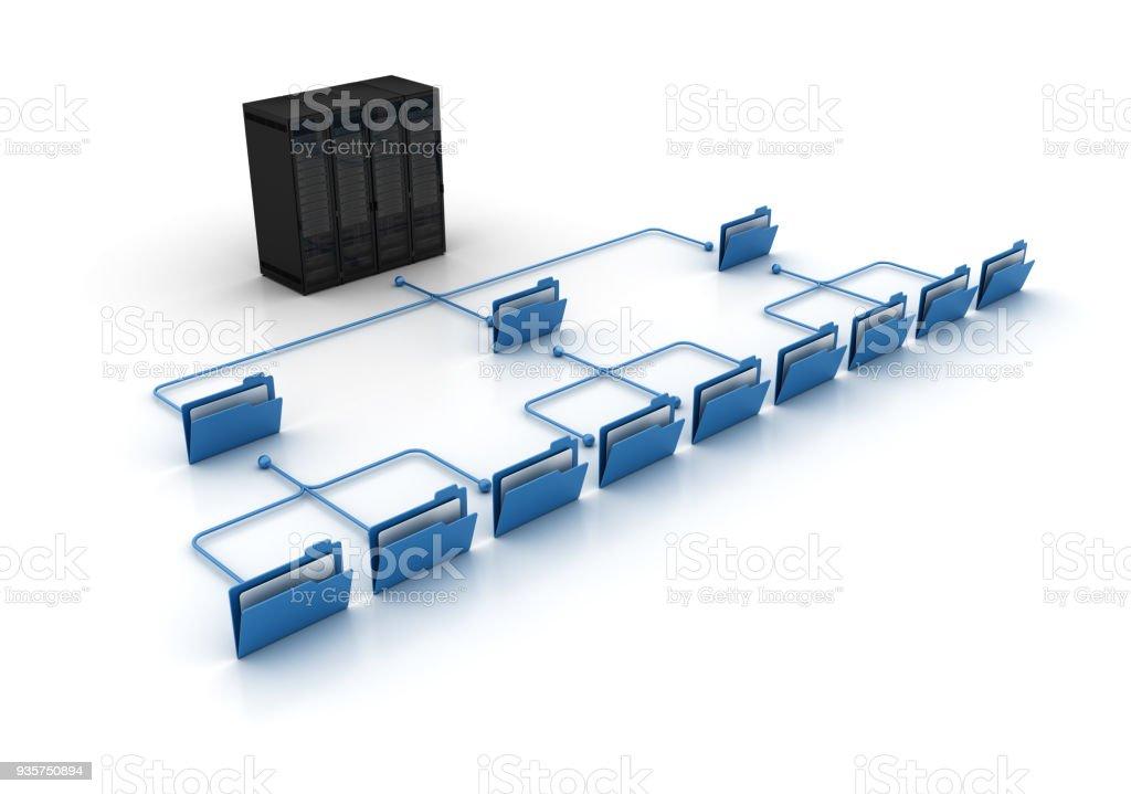 Computer Folders wit Server - 3D Rendering stock photo
