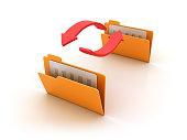 istock Computer Folders with Arrows - 3D Rendering 926168324