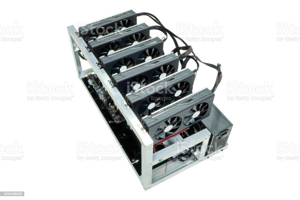 Computer for Bitcoin mining. stock photo