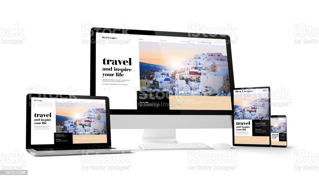 Computer-Gadgets mit Reisen Website Raum auf dem Bildschirm – Foto