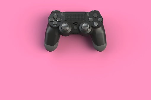 istock Computer game competition. Gaming concept. Black joystick isolated on pink background, 3D rendering 898435632