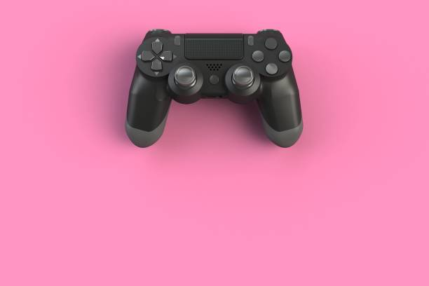 Computer game competition. Gaming concept. Black joystick isolated on pink background, 3D rendering Computer game competition. Gaming concept. Black joystick isolated on pink background, 3D rendering gamepad stock pictures, royalty-free photos & images