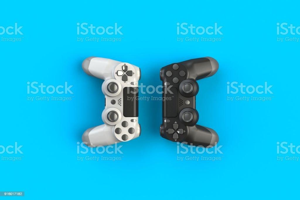 Concours jeu informatique. Concept de jeu. Manette noir et blanc, isolé sur un fond bleu, 3D rendering photo libre de droits