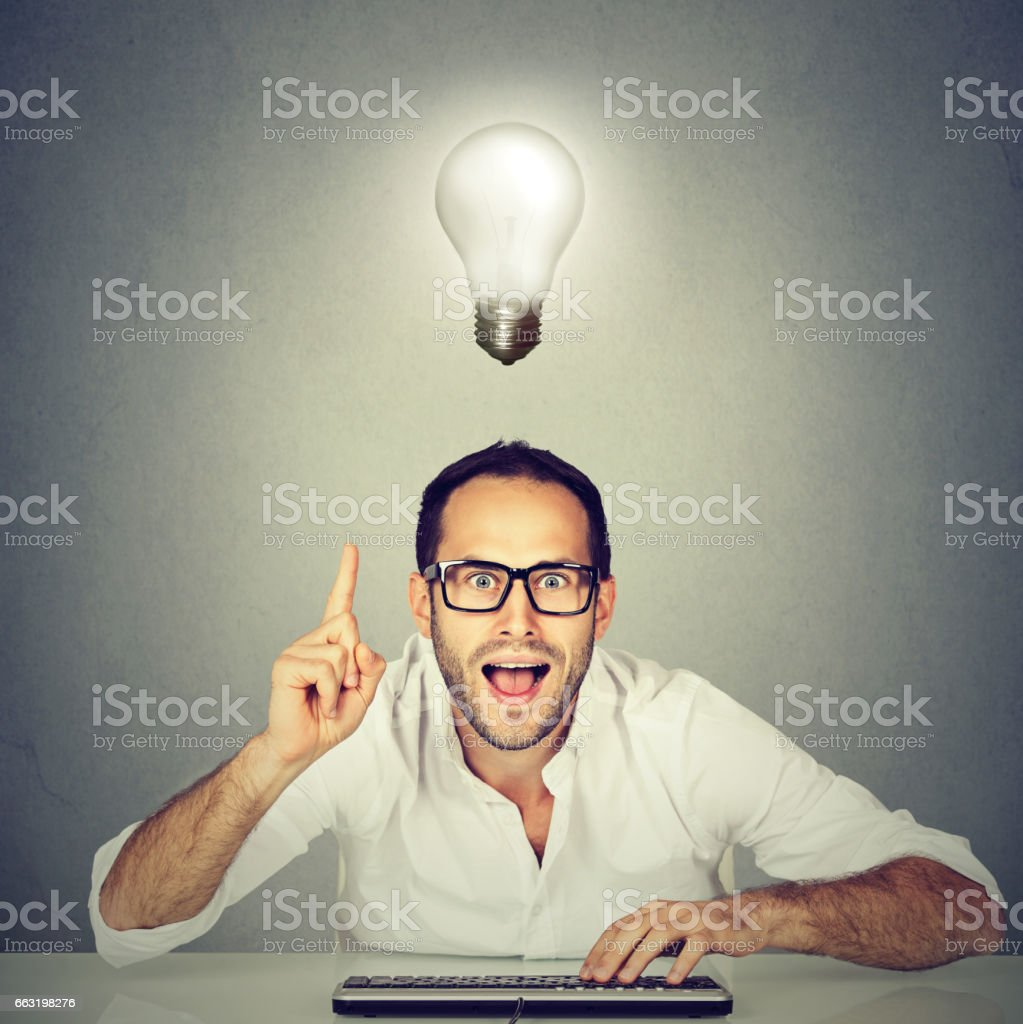 computer geek young man knows the answer stock photo
