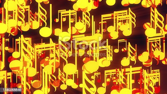 Computer generated 3D rendering. Cluster of many gold musical notes on a black background.