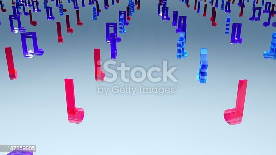 Computer generated 3D rendering. Rows of many glass multicolor musical notes on web background