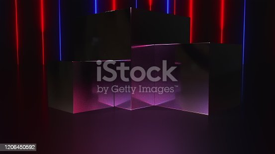 932724052 istock photo Computer generated a pedestal and a showcase with neon lines. 3d rendering modern background 1206450592