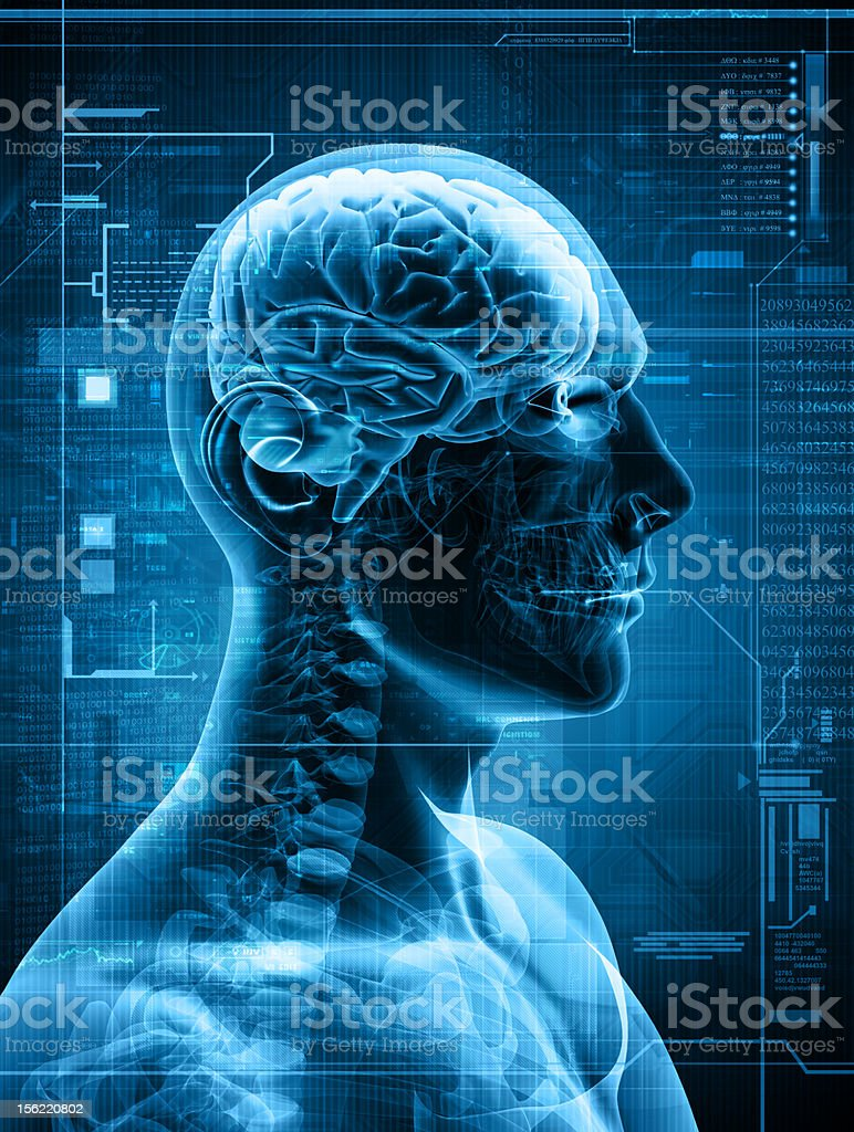 Computer generated abstract X-ray of man's brain stock photo