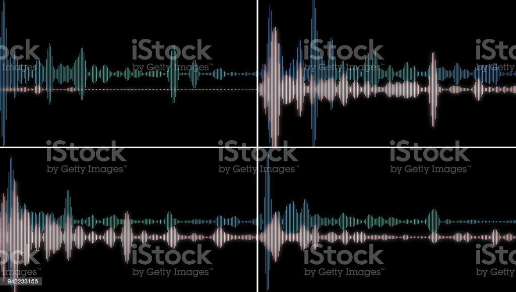 computer generated equalizer bars in waveform audio spectrum stock photo
