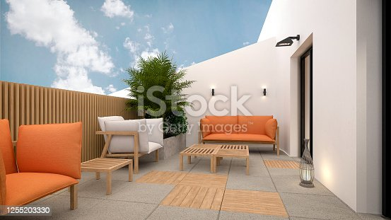 Computer generated image of balcony. Architectural Visualization. 3D rendering. Interior Design