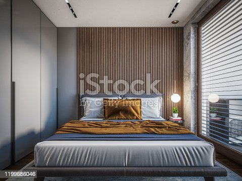 Computer generated image of bed room. Architectural Visualization. 3D rendering.