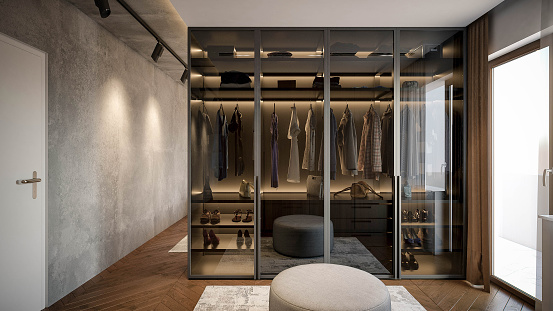 Computer generated image of dressing room. Architectural Visualization. 3D rendering.