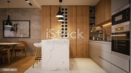 Computer generated image of kitchen and living room. Architectural Visualization. 3D rendering.