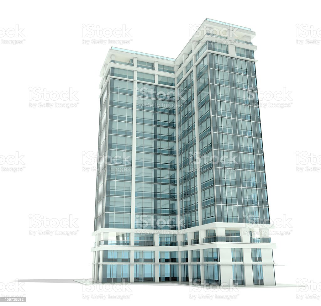Computer generated rendering of a glass-walled building royalty-free stock photo