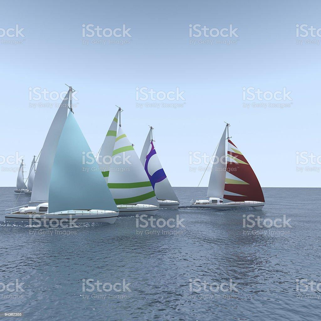Computer generated sailboat regatta on calm sea stock photo