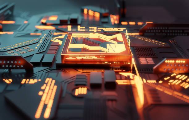 Computer Glowing Futuristic CPU Processor Concept stock photo