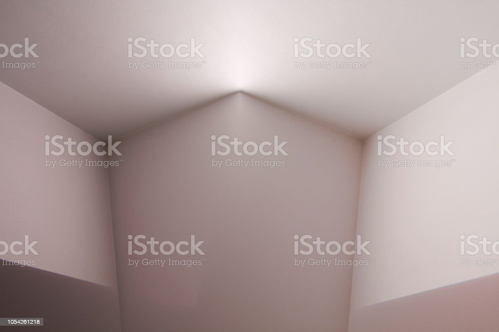 Computer graphic image of walls and ceiling. Polygonal structure of corners / angular shapes. Abstract background on the subject of modern architecture or interior. stock photo