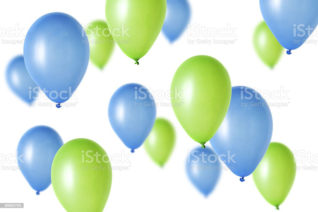 Computer graphic of green and blue balloons against white stock photo