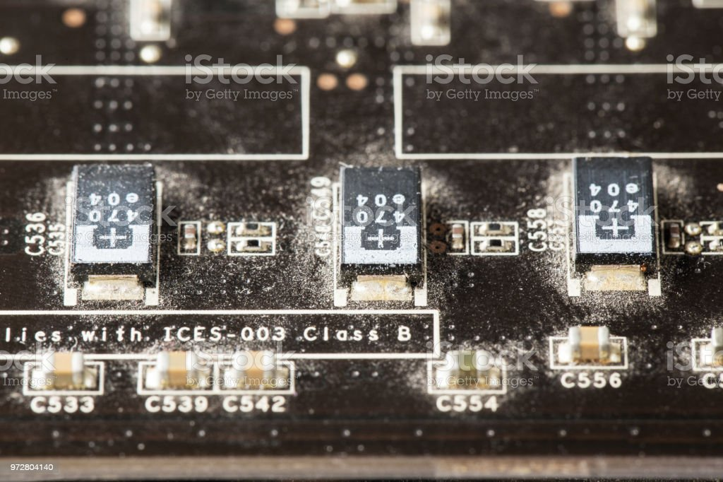 computer graphics card close-up. equipment for mining cryptocurrency